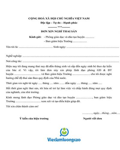Mẫu đơn xin nghỉ việc Thai Sản